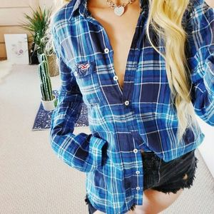Hollister Long Sleeve Blue Plaid  Shirt